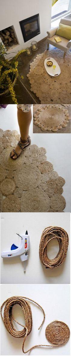 Alfombra rústica de yute o sisal cuerda/ Rustic rug of jute or sisal rope  #recycle design
