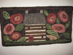 """""""Mama's Roses"""" by Maggie Bonanomi, hooked with Maggie at The Rug Hooking Store in May, Primitive Painting, Primitive Folk Art, Punch Needle Patterns, Hand Hooked Rugs, Wool Embroidery, House Quilts, Braided Rugs, Penny Rugs, Felt Applique"""
