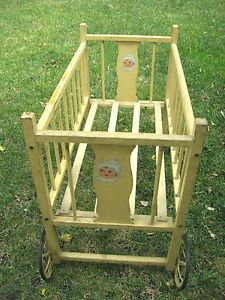 Vintage 1960s Portable Baby Bed Crib Wood Fold Down Side Beads