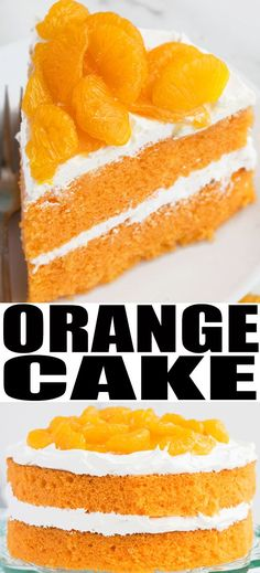 ORANGE CAKE RECIPE- Quick, easy, soft, moist, fresh, uses simple ingredients, made from scratch. It's filled with cream cheese frosting, mandarin oranges and orange marmalade. From cakewhiz.com #cake #dessert #dessertrecipes #cakerecipe #oranges #marmalade #mandarinoranges #summer #summerrecipes #cakeart