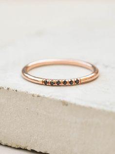 Petite Stacking Ring - Rose Gold + Black