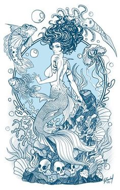 sketch of a mermaid for a joint work with: Sketch Sirena Fantasy Kunst, Fantasy Art, Mythical Creatures, Sea Creatures, Sirene Tattoo, Art Sketches, Art Drawings, Fantasy Magic, Mermaids And Mermen