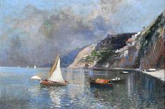 Ricciardi Oscar (Napoli 1864 - 1935) Marina con barche a)olio su tela cm 26,5x39