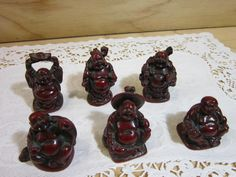 Set of Six Vintage Miniature Chinese Buddha Statues * Feng Shui Buddha * Good Fortune Buddha * Chinese Laughing Buddha by RainbowConnection15 on Etsy