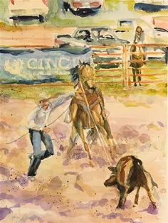 "Daily Paintworks - ""Calf Roping - Westcliffe, CO"" - Original Fine Art for Sale - © jean krueger"