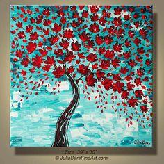 MODERN Art  Red Blooming Tree GICLEE PRINT by ModernArtbyJuliaBars, $165.00