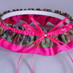 Wedding Garter in Hot Pink & Camo Print Satin with Crystal