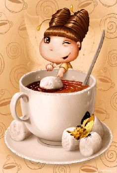 Guten Morgen liebe FB Freunde You are in the right place about Decoupage letters Here we offer you the most beautiful pictures about the Decoupage laminas you are looking for. When you examine the Gut I Love Coffee, Coffee Art, My Coffee, Coffee Time, Gif Animé, Food Illustrations, Cute Illustration, Belle Photo, Cute Art