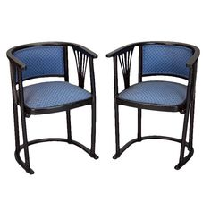 Josef Hoffmann Armchairs with Blue Upholstery - A Pair