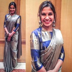 My sister wearing a steel metallic grey silk saree with the royal blue Taj brocade blouse along with a silver jhumka for an office party. Brocade Blouse Designs, Blouse Designs High Neck, Pattu Saree Blouse Designs, Brocade Blouses, High Neck Blouse, Blouse Patterns, Blue Silk Saree, Grey Saree, Silk Sarees