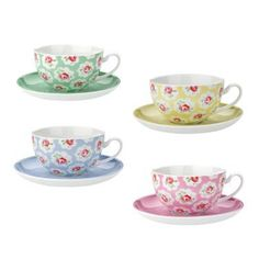 Provence Rose Set of 4 Teacups & Saucers