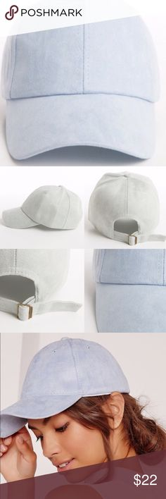 ⚜Faux Suede Baseball Cap-Blue⚜ Sporty, yet very stylish and on trend faux suede baseball cap in beautiful baby/sky blue⚜Adjustable closure⚜One size fits most⚜Made in China Photo Credit: Fashionomics and Pinterest Fashionomics Accessories Hats