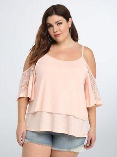 Lace Trim Cold Shoulder Top,