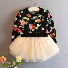Department Name: ChildrenGender: GirlsFit: Fits true to size, take your normal sizeStyle: CasualSilhouette: Ball GownModel Number: noSleeve Style: RegularBuilt-in Bra: NoDresses Length: Above Knee, MiniSleeve Length: FullDecoration: PatternMaterial: SilkPattern Type: FloralCollar: O-neckGender: GirlsSkirt category: DressStyle: Korean versionCollection: Basic modelsFor ages: In children (2-7 years old)For the Season: Spring and autumnPattern: FlowersFabric Type: BroadclothCollar: White, black