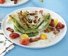 Grilled Iceberg Wedges with Tomato, Bacon, and Blue Cheese