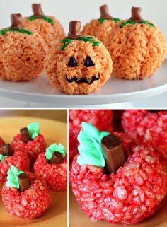 Pumpkins and apples Rice Krispies treats. For a party or your favorite teacher!