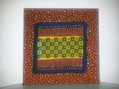 Single Mini square orange yellow and blue african wax print fabric wall hanging £9.99