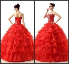 Quinceanera Red Evening Dress Cheap Ball Gown Lace Up Back Beadings Elegant Tiered Skirt Elegant Sweet Princess Pageant Dress Long Hot Sale Silver Quinceanera Dresses 15th Dresses From Lovemydress, $149.75| Dhgate.Com