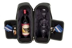 Picnic Time Estate Insulated Wine Tote, with Service for 2