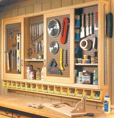 Shopnotes Pegboard Tool Cabinet Inspiration Featured On Remodelaholiccombest Box Garage Journal Storage For. Image of garage tool rack and storage garden tool organizer for garage tool holders for garage. tool storage units garage tool holders for garage. Garage Organization Tips, Diy Garage Storage, Storage Ideas, Storage Hacks, Pegboard Storage, Hang Pegboard, Workbench Organization, Craft Storage, Tool Pegboard
