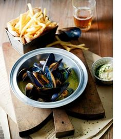 Mussels (moules marinieres) and French Fries with mustard mayonnaise