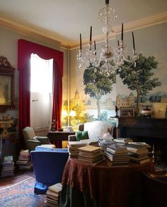 skirted book table in atmospheric NYC room