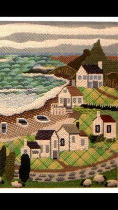 """needlepoint shoreline landscape, Melissa Shirley canvas """"White House Cove"""""""