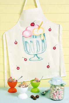 Avental com pintura de sorvete