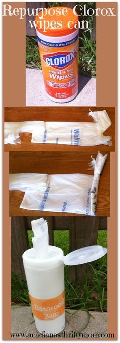Diy Baby Wipes Container Reuse Cars New Ideas Diy Storage Containers, Reuse Containers, Plastic Bag Storage, Clorox Wipes Container, Lysol Wipes, Organization Hacks, Organization Station, Organizing Ideas, Repurposed