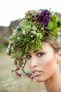 Succulent and Hellebore headpiece created by Françoise Weeks.
