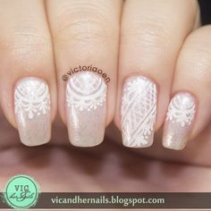 Pink Base with White Lace Nails