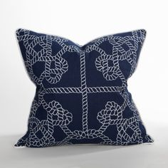 Tied Knots Pillow/ Blue- Newport Collection- #BeachPillows  #CoastalPillows  #CoastalHomePillows
