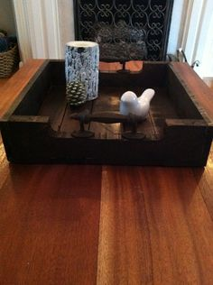 Reclaimed Dark Stained Pallet Wood Serving Tray With Metal Handles