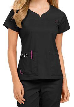 Med Couture Lexi Notch Neck Scrub Tops - Black/Raspberry - Treat yourself to the… Scrubs Outfit, Scrubs Uniform, Beauty Uniforms, Medical Uniforms, Uniform Design, Medical Scrubs, Nursing Clothes, Blazer Fashion, Scrub Tops