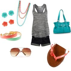 accessorize with coral and turquoise, created by jill-monaco on Polyvore