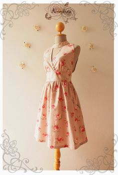 Pink Floral Party Dress Romantic Vintage Cottage by Amordress
