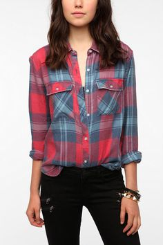byCORPUS Burnout Flannel Shirt  #UrbanOutfitters  Color: red plaid  Size: medium