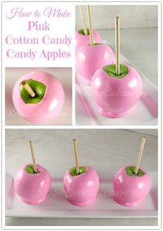 How to Make Pink Cotton Candy Candy Apples