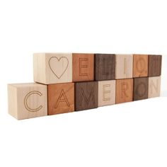 Great baby shower idea! 13 personalized wooden blocks alphabet letter by littlesaplingtoys, $31.20