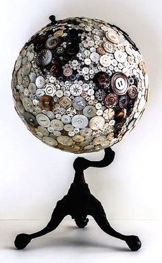 button globe. Not a big button person, but I like the idea of recreating a globe out of other things.