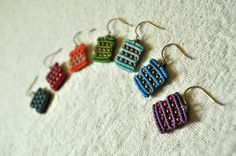 Mini Circuit Earrings Grass Green by AMiRAjewelry on Etsy, $25.00
