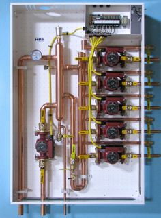 """""""New"""" Primary Secondary Hydronic Panel using a low loss header! Hydronic Radiant Floor Heating, Hydronic Heating, Water Heating, Heating And Cooling, Electrical Circuit Diagram, Mechanical Room, Indoor Greenhouse, Electrical Installation, Water House"""
