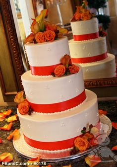 "Design W 0178   Butter Cream Wedding Cake   12""+9""+6""   Serves 100    Satin Ribbon, Fresh Flowers   Standard Price"