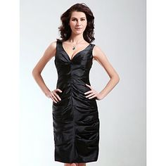 Sheath/ Column V-neck Knee-length Stretch Satin Cocktail/ Homecoming Dress – USD $ 99.99