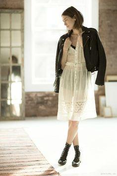 Caroline Ventura, moto leather jacket, ankle boots, dress / Garance Doré