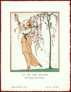 A drawing of a Jeanne Paquin afternoon dress from the May 1913 issue of French fashion magazine Gazette du Bon Ton.