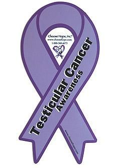 Mini Ribbon Awareness Magnet - Testicular Cancer (Orchid)