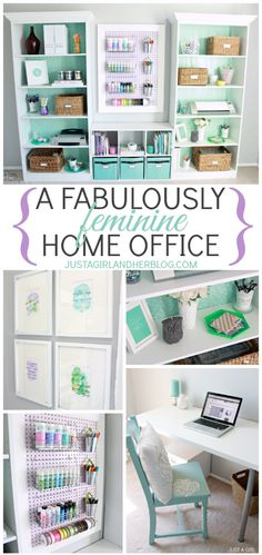 I LOVE the aqua with splashes of lilac in this room!! Home Office Reveal at JustAGirlAndHerBlog.com