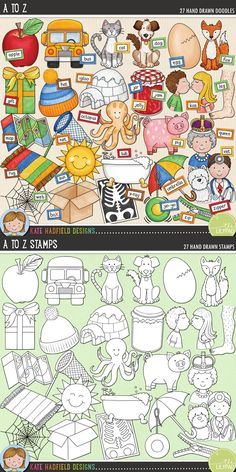 Alphabet & phonics digital scrapbooking elements | Cute alphabet clip art | Hand-drawn illustrations for digital scrapbooking, crafting and teaching resources from Kate Hadfield Designs! Click through to see projects created using these illustrations!