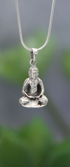 Artistic pendant made in Thailand features a sterling silver Buddha depicted in deep meditation. Christmas Wishlist 2018, Buddha Jewelry, Deep Meditation, Buddhism, Sterling Silver Pendants, Pendant Necklace, Pure Products, Thailand, Accessories